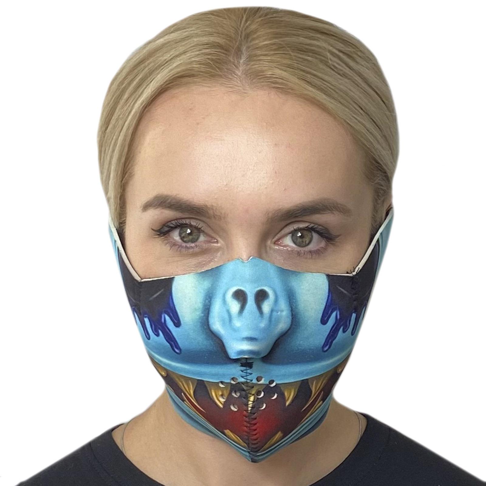 Полулицевая противовирусная маска с крутым хоррор-принтом Wild Wear Reptilian
