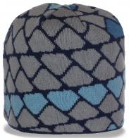Попсовая неотразимая зимняя женская шапка на флисе с геометрическим рисунком отличный выбор