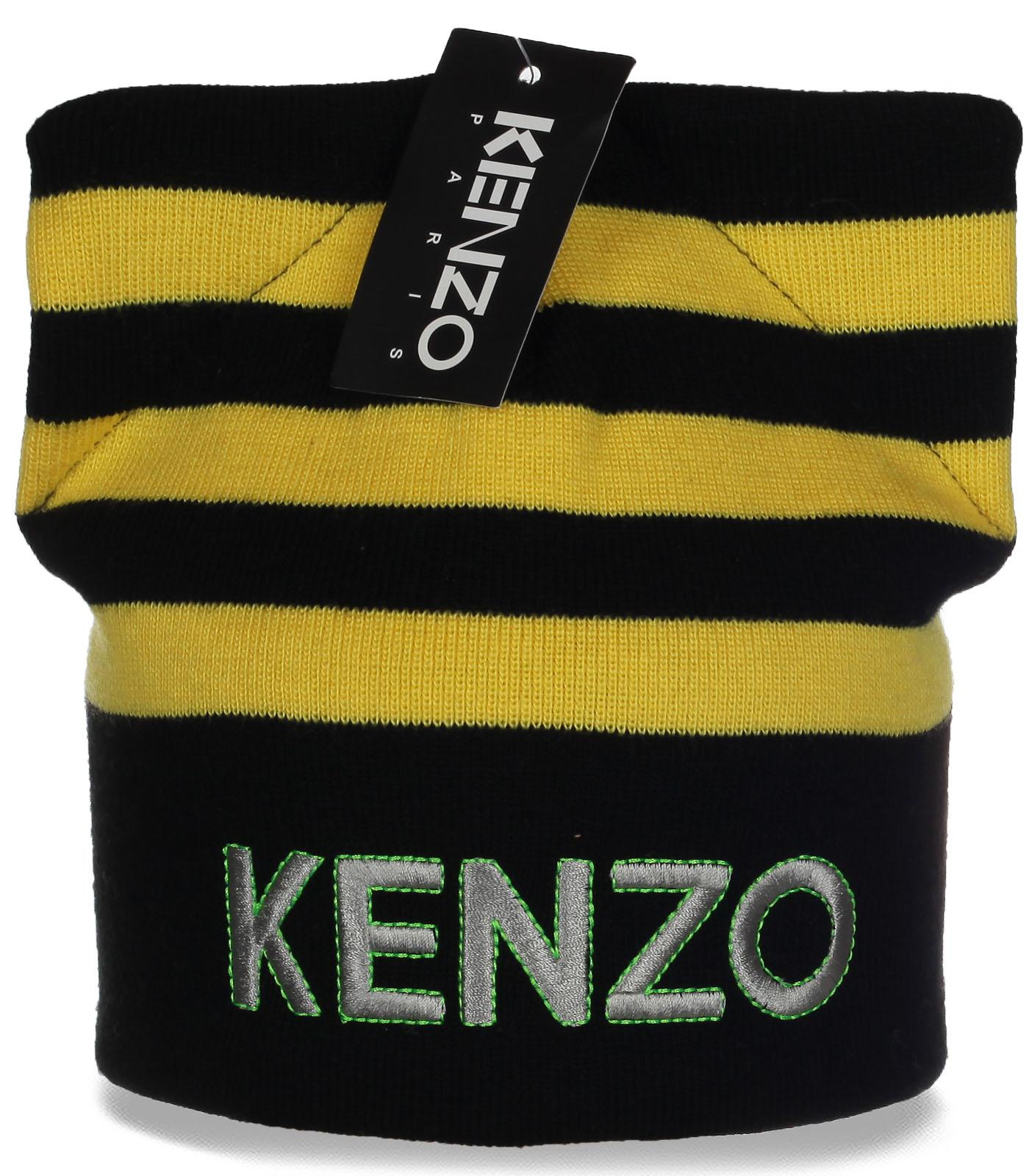 Попсовая первоклассная женская шапка Kenzo с модными ушками отличный выбор на каждый день