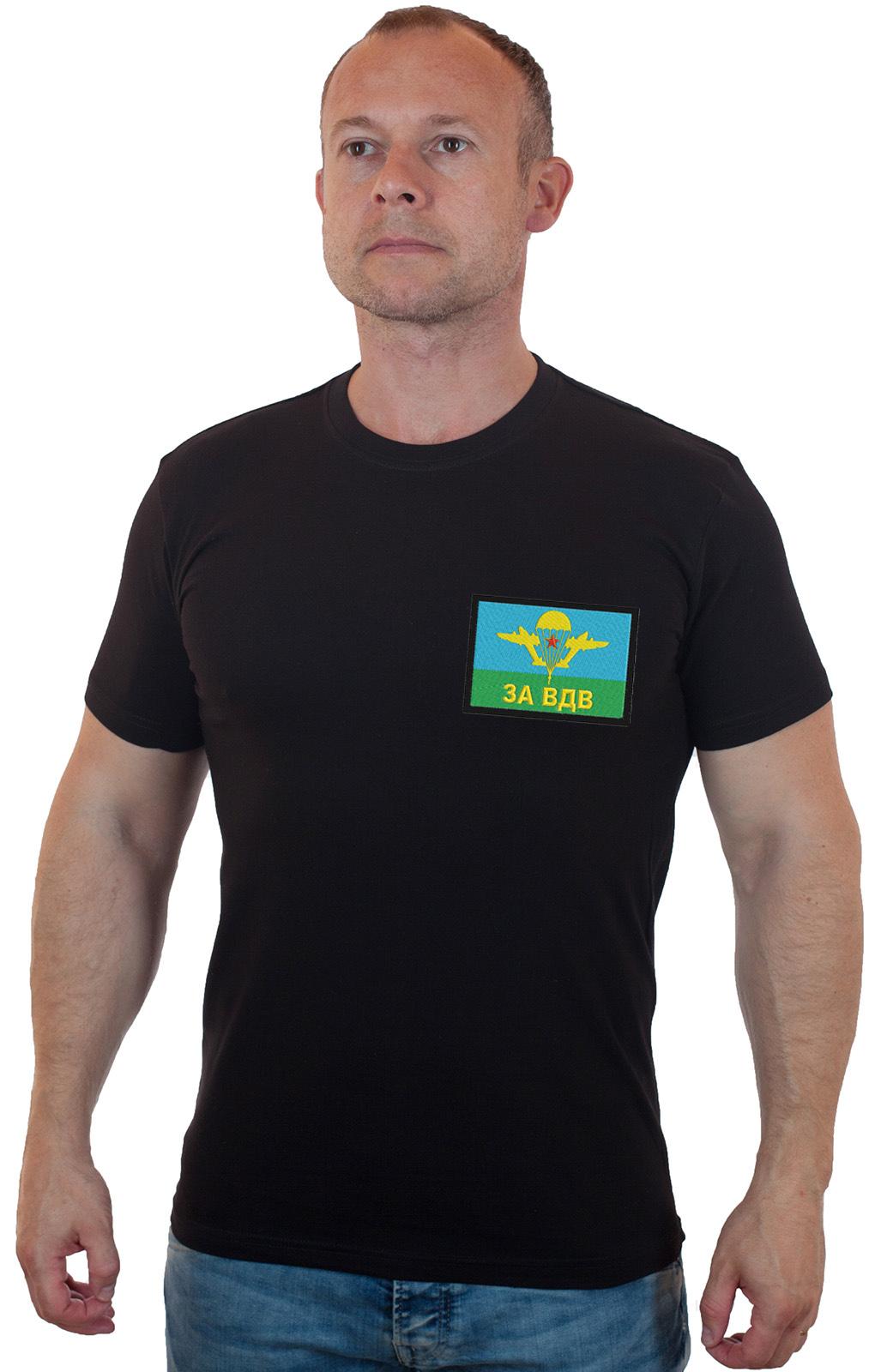Купить в военторге мужскую черную футболку ЗА ВДВ