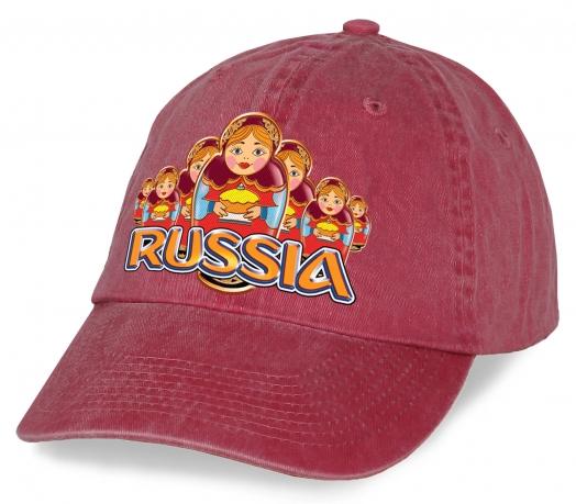 """Популярная бейсболка """"Russia"""" с матрешками в популярном дизайне. Эффектная модель из 100% хлопка. Модно и практично! Заказывай!"""