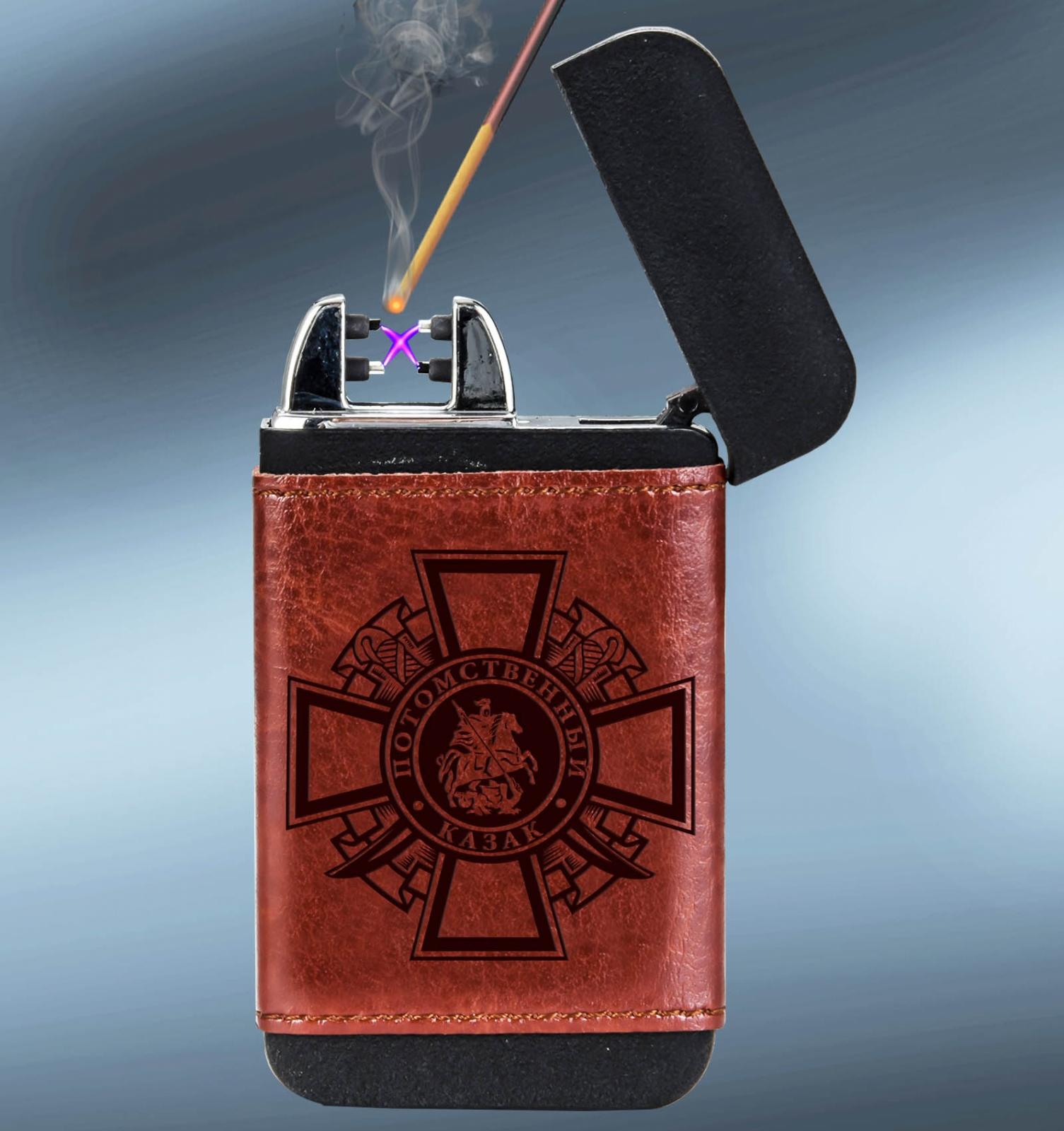 Портативное устройство Powerbank + зажигалка в чехле Потомственный казак от Военпро