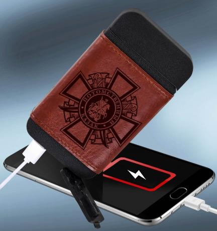 Портативное устройство Powerbank + зажигалка в чехле Потомственный казак