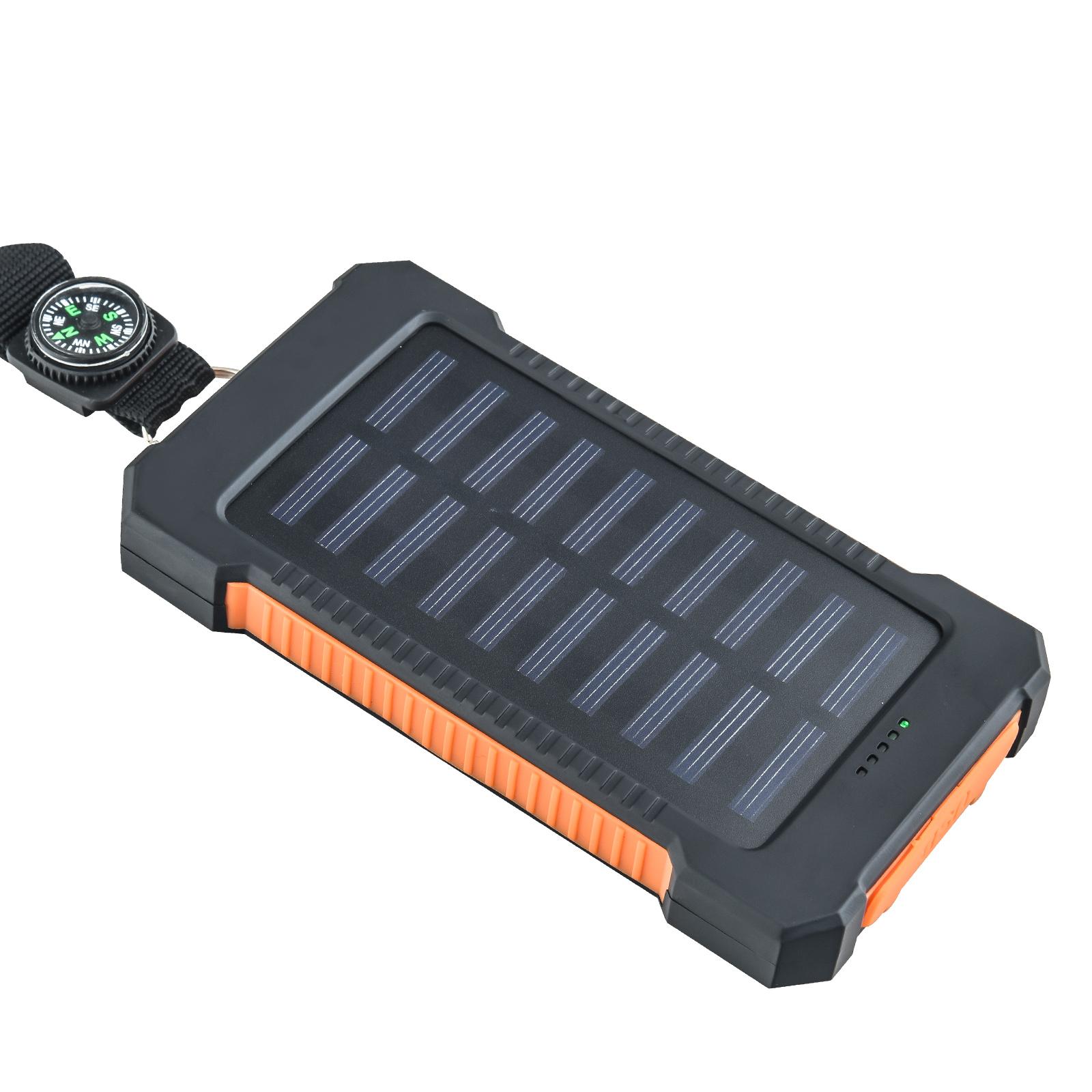 Портативный повер-банк (10000 mAh) с солнечной батареей и компасом + фонарем