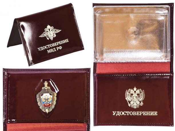 Портмоне-обложка для удостоверения с жетоном «МВД»