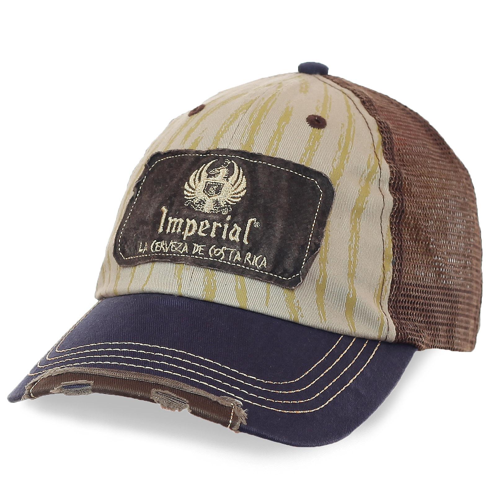 Потёртая бейсболка Imperial – комбинированные материалы и цвета, вентиляционная сетка, душевная цена. Фишка модели – прикольный фиксатор размера