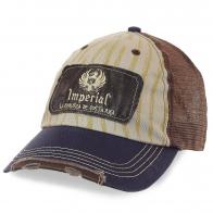 Потёртая бейсболка Imperial – комбинированные материалы, вентиляционная сетка, душевная цена. Фишка модели – прикольный фиксатор размера