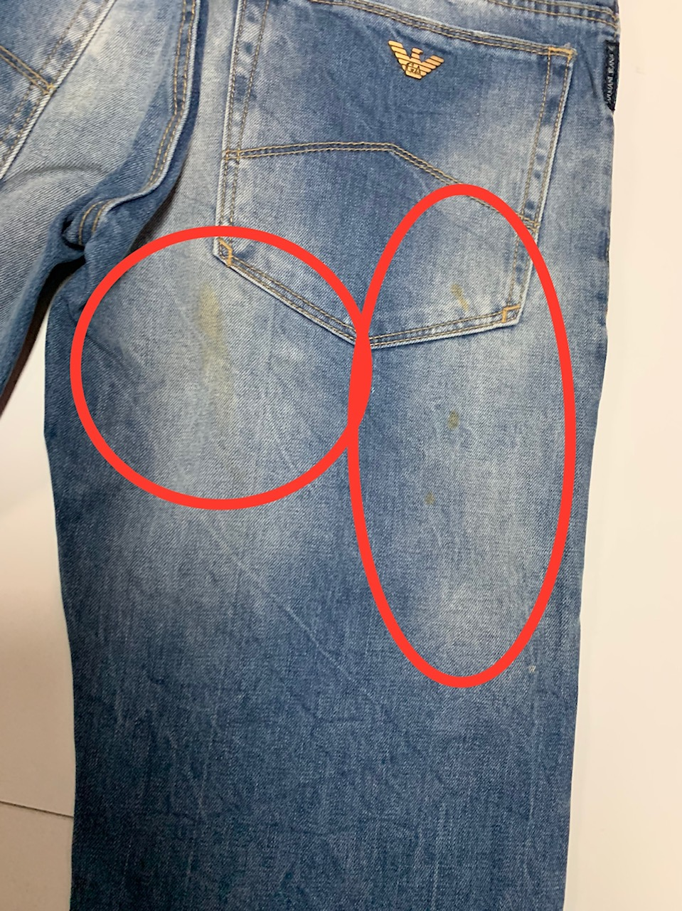 Потёртые мужские джинсы