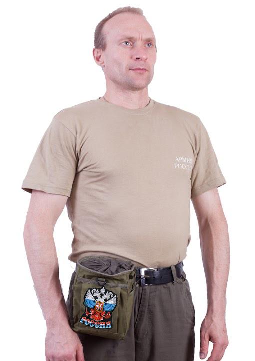 """Поясная сумка для фляги хаки-олива с эмблемой """"Россия""""  оптом в Военпро"""