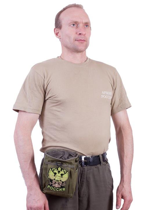 Поясная сумка для фляги с нашивкой Герб России - заказать оптом