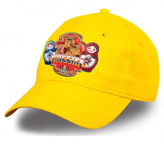 """Позитивная бейсболка """"Russia"""" с медведем и матрешками. Безупречное качество по супер-цене. Самая популярная модель сезона!"""
