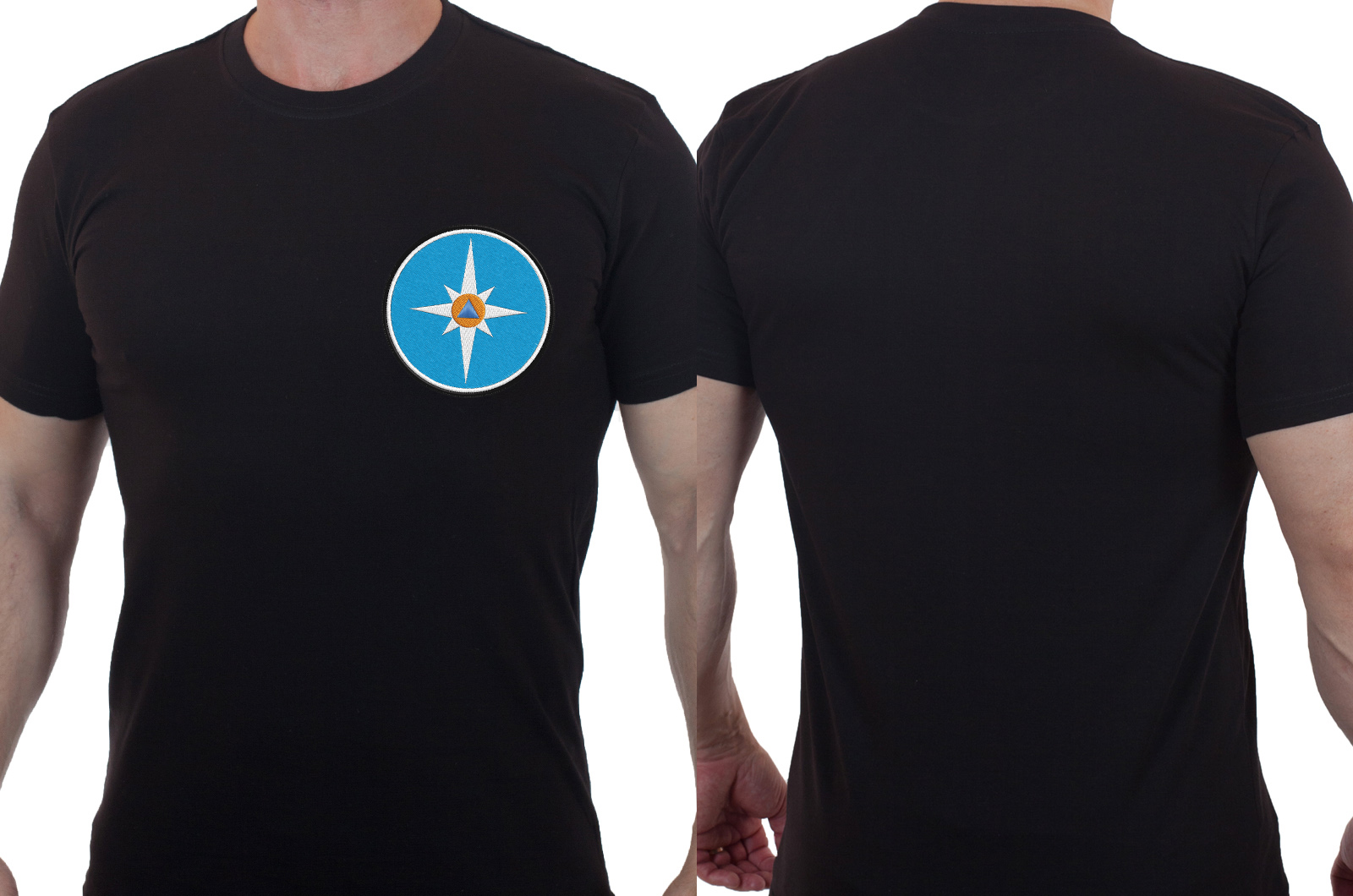 Практичная черная футболка с вышивкой МЧС