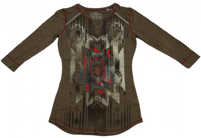 Практичная коричневая кофточка с абстрактным принтом бренда Panhandle Slim
