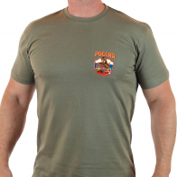 Купить практичную мужскую футболку с патриотичной эмблемой