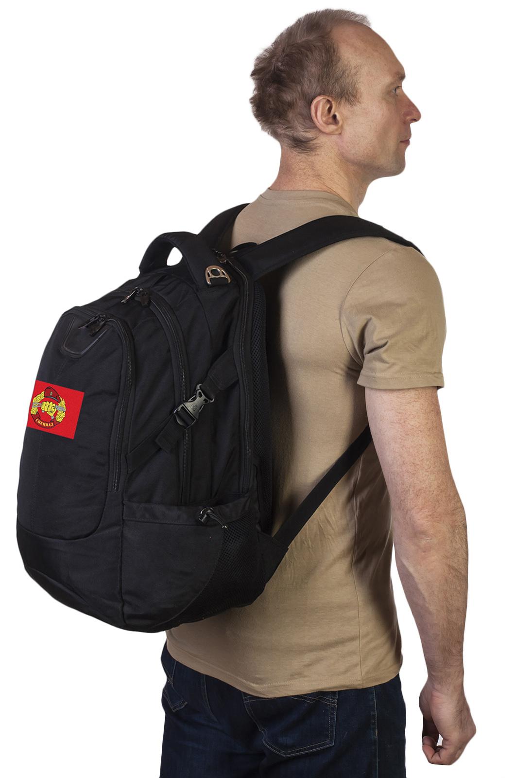 Практичный черный рюкзак с нашивкой Спецназ -заказать в подарок