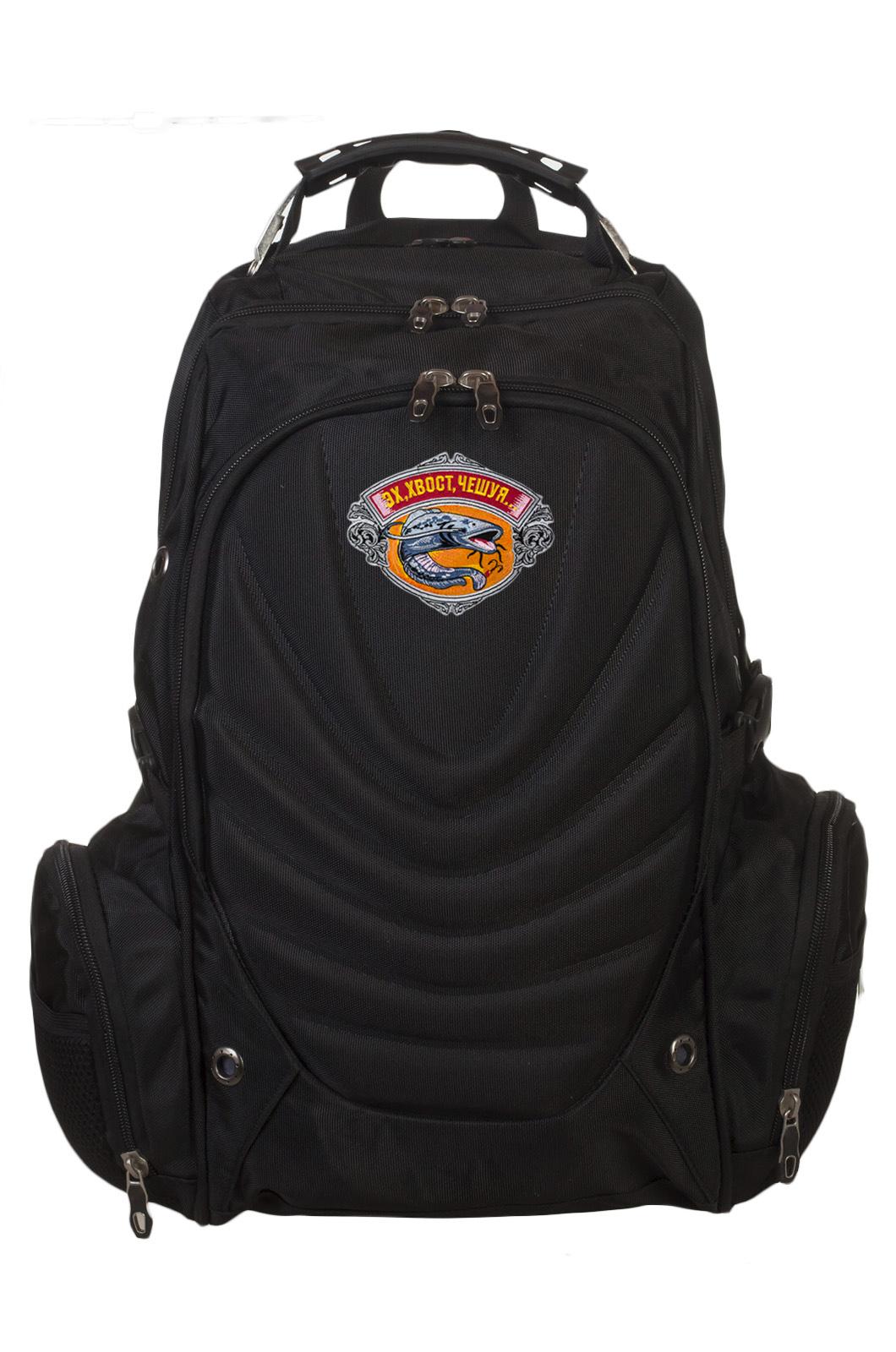 Практичный черный рюкзак  с рыбацкой фразой