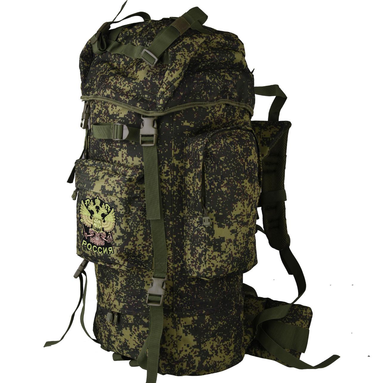 Практичный вместительный рюкзак с нашивкой Герб России - заказать в Военпро