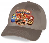 Прекрасный патриотический сувенир - хлопковая кепка с принтом «Russia» с национальными символами хлебосольными Медведем и Матрешками. Авторское исполнение от Военпро