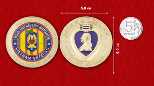Presented by Clyde R. Horn Combat Wounded Vietnam Veteran 199th Infantry Brigade Challenge Coin - comparative size