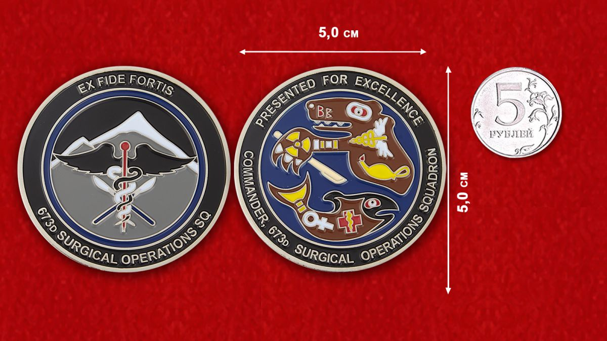Presented by for Excellence Commander 673d Surgical Operations SQ Challenge Coin - comparative size
