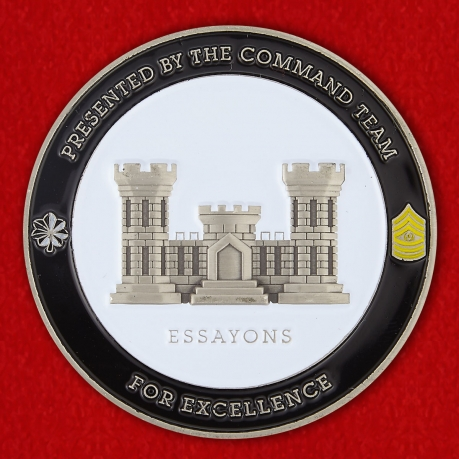 Presented by The Command Team For Excellence by 12th Battalion Engineer 104th Regiment Challenge Сoin