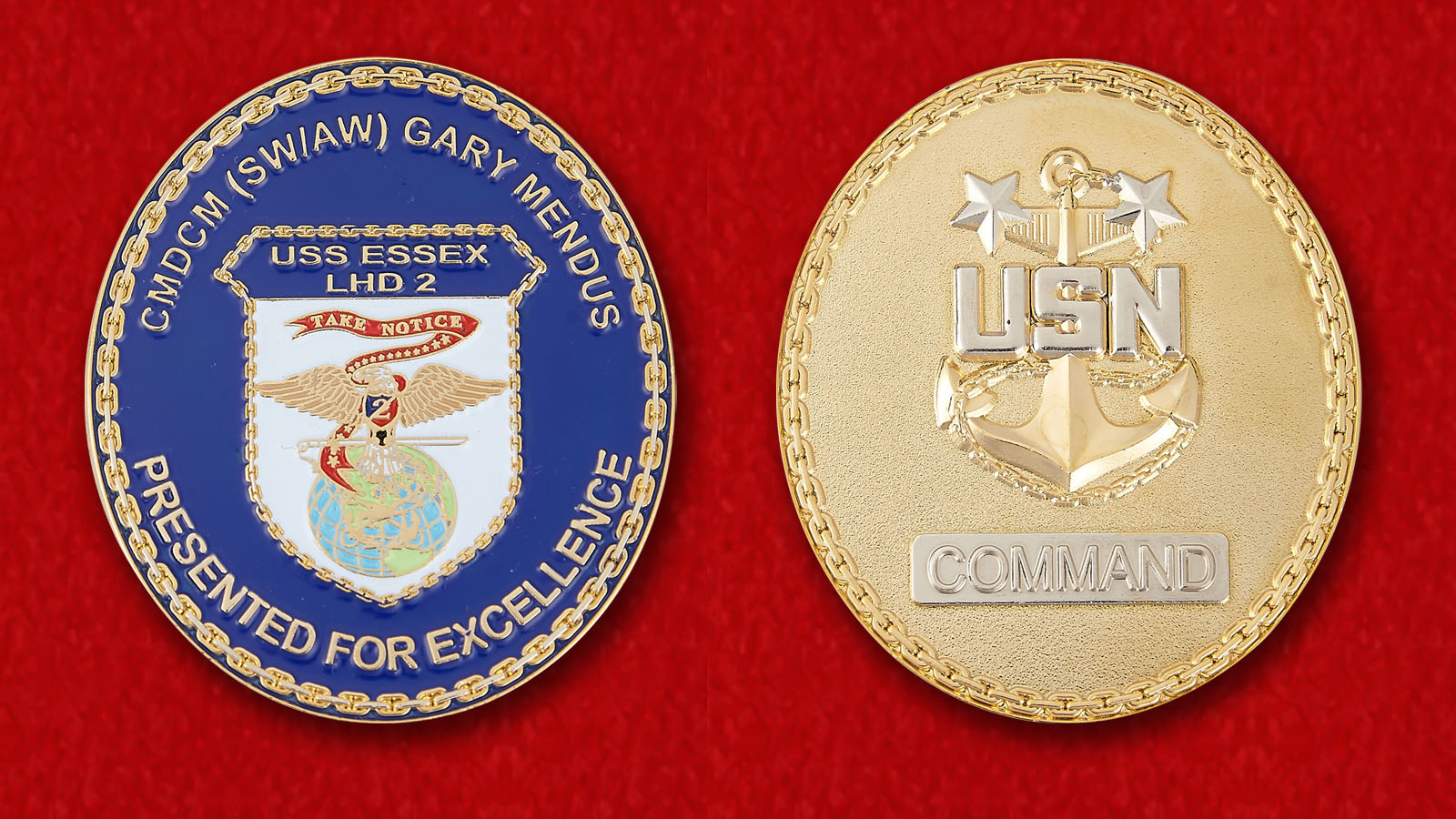 Presented For Excellence CMDCM (SWIAW) Gari Mendus USS Essex (LHD-2) Challenge Сoin - obverse and reverse