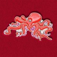"""Прикольный значок """"Красный осьминожек"""""""