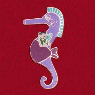 """Прикольный значок """"Пабло - беременный морской конек"""""""