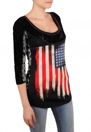 Крутой принтованный женский реглан от ТМ Rock and Roll Cowgirl. Укороченный рукав, гранж-декор и душевная цена! Под джинсики – ОГОНЬ!