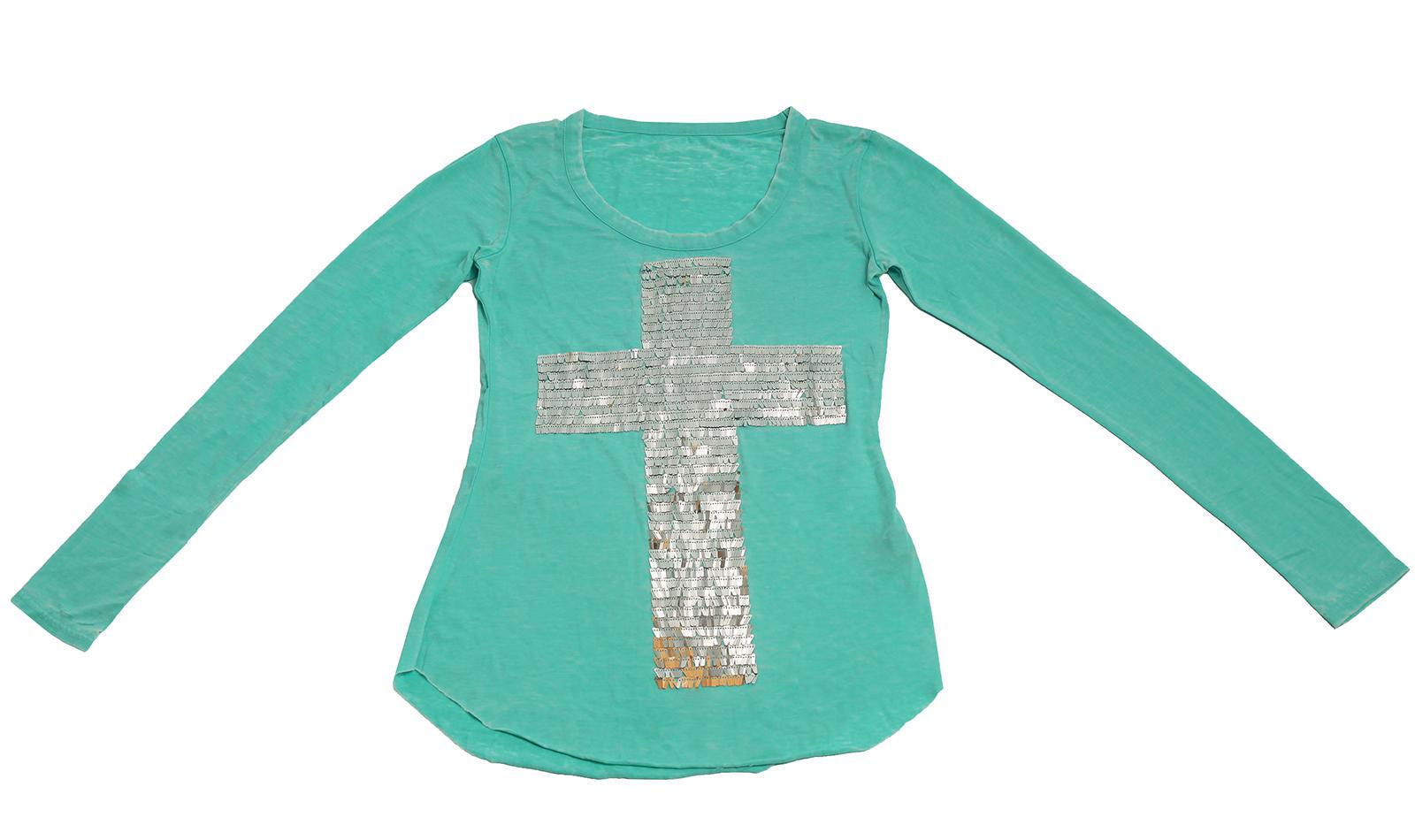 Приталенная кофточка нежного бирюзового цвета с крестом