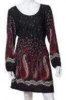 Приталенное черное платьице с цветочным принтом