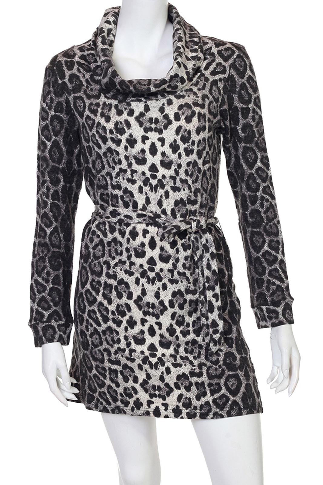 Привлекательное серое леопардовое платье