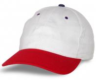 Промо бейсболка белая с красным козырьком