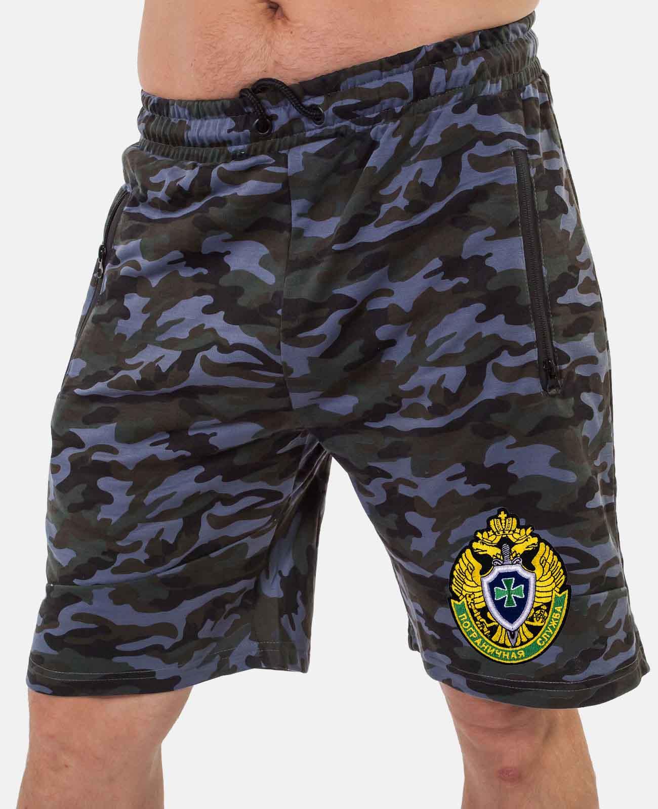 Просторные мужские шорты с эмблемой Погранслужбы купить по привлекательной цене