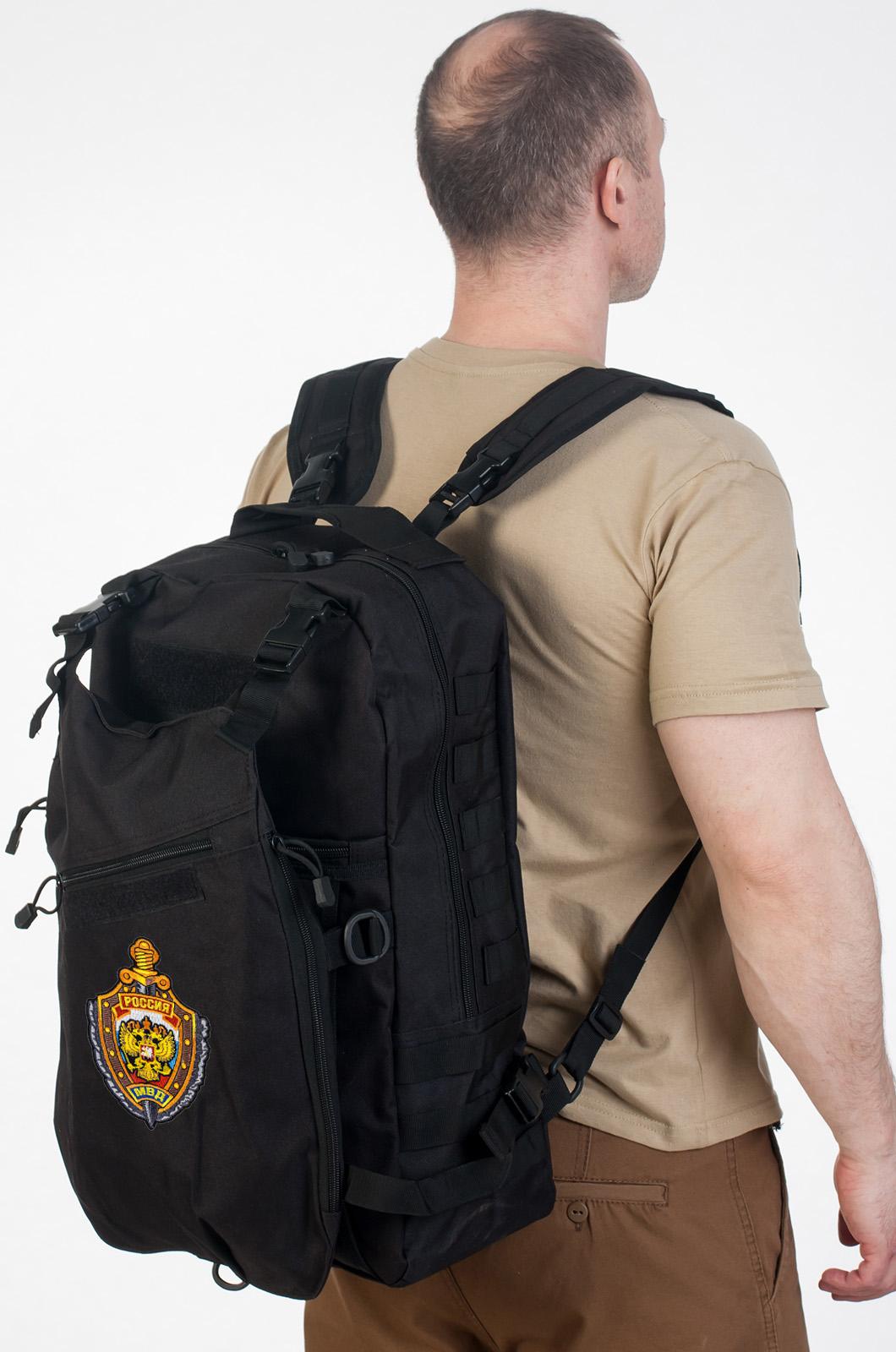Рейдовый рюкзак черный с эмблемой МВД заказать в Военпро