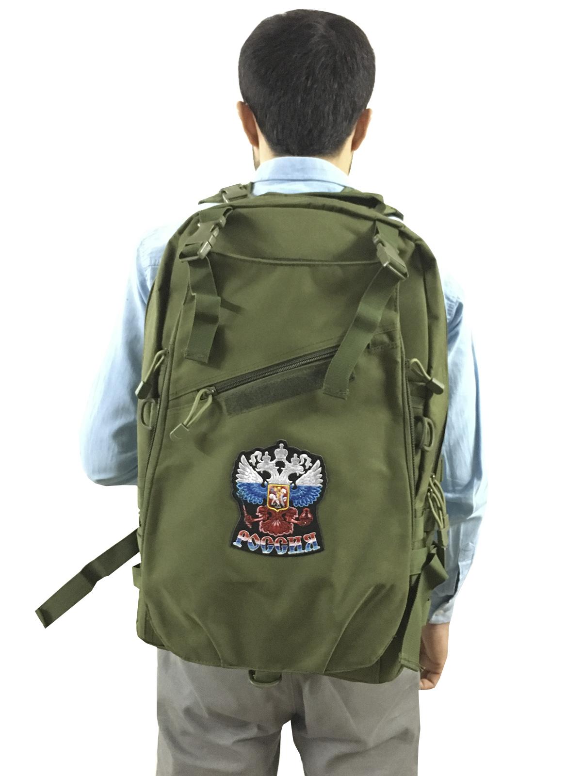 """Рейдовый рюкзак хаки-олива с эмблемой """"Россия"""""""