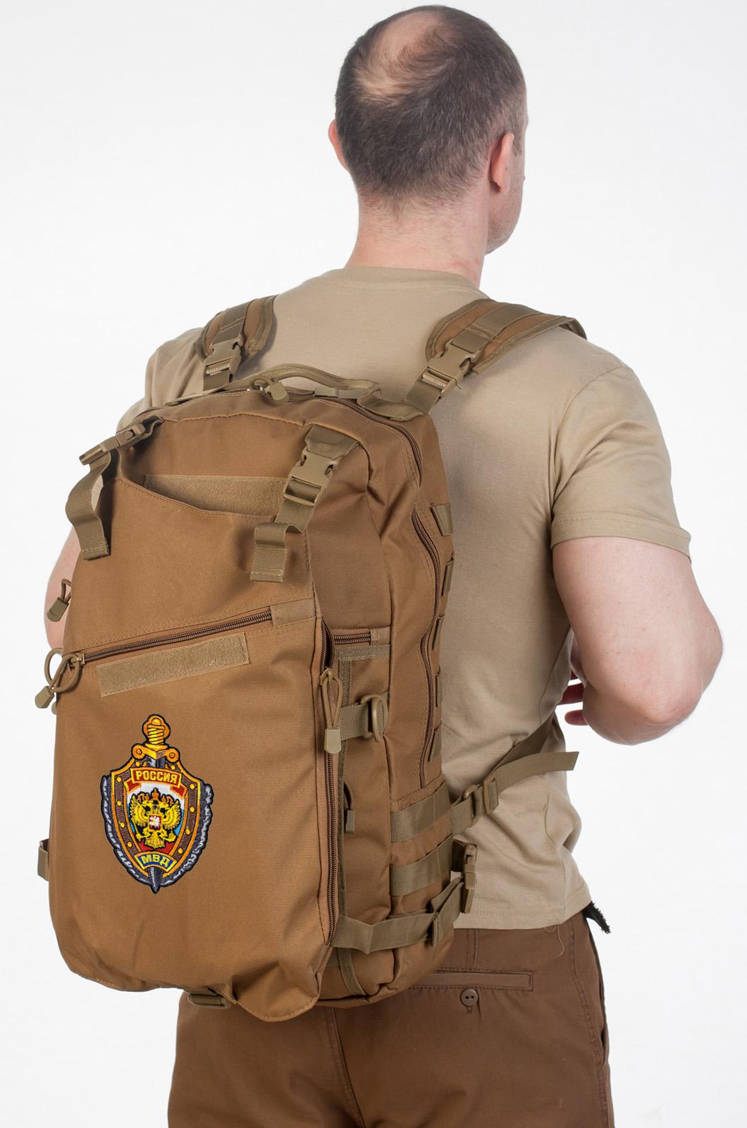 Рейдовый рюкзак хаки-песочный с эмблемой МВД заказать в Военпро
