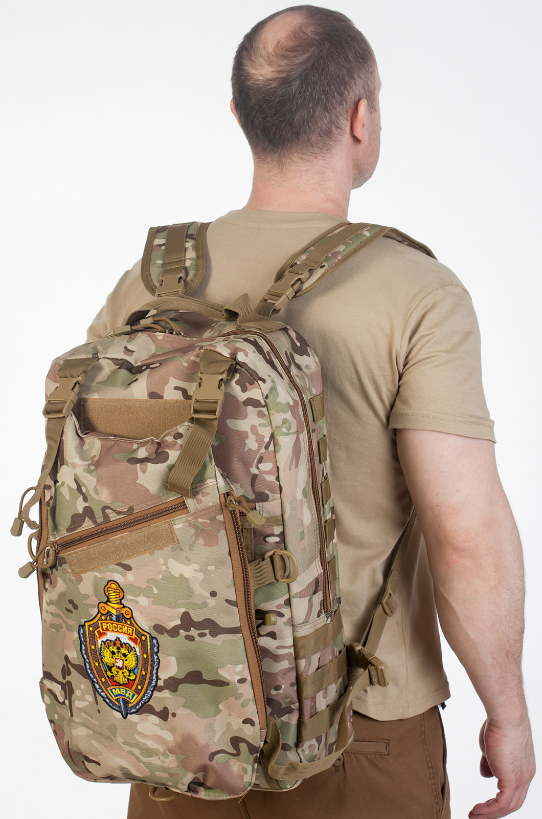Рейдовый рюкзак камуфляж Multicam с эмблемой МВД оптом в Военпро