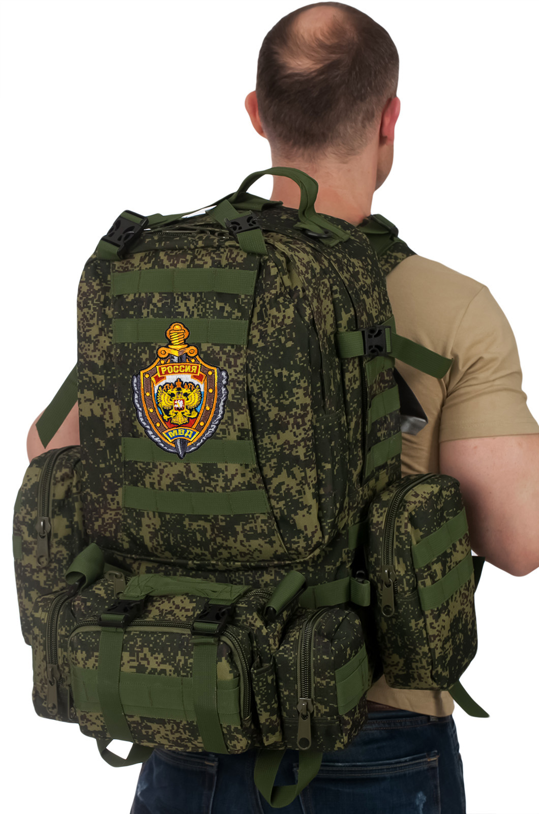Рейдовый рюкзак на 50 литров с подсумками с эмблемой МВД оптом в Военпро