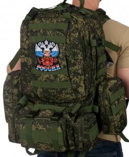"""Рейдовый рюкзак на 50 литров с подсумками с эмблемой """"Россия"""""""