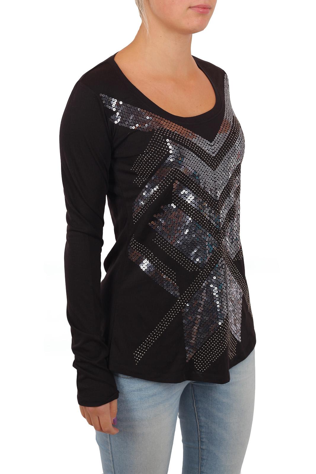 Роскошная чёрная туника с абстрактным орнаментом из пайеток. Правильная интерпретация стиля ГЛАМУР от бренда Rock and Roll Cowgirl