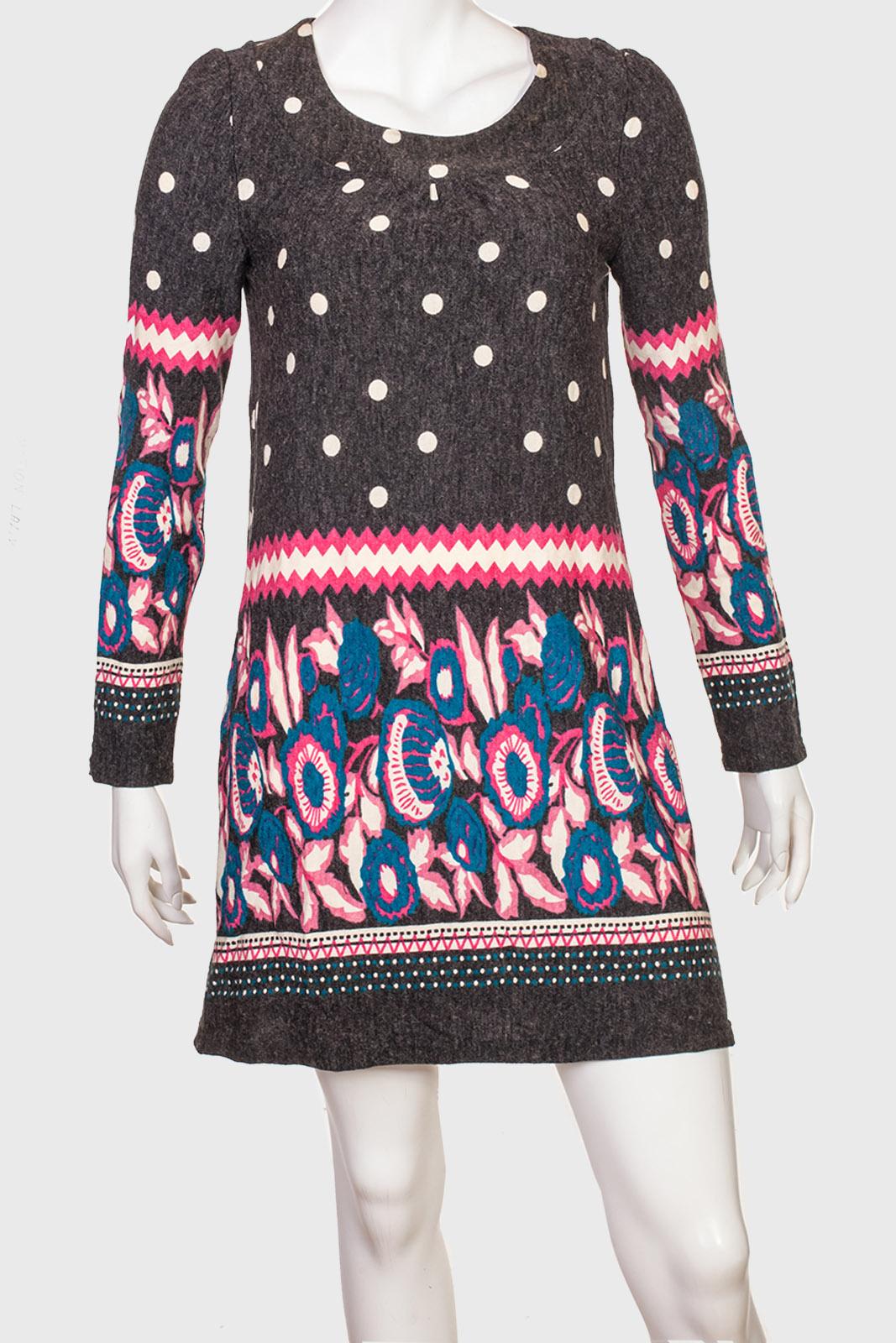 Романтичное платье-туника с голубыми цветами
