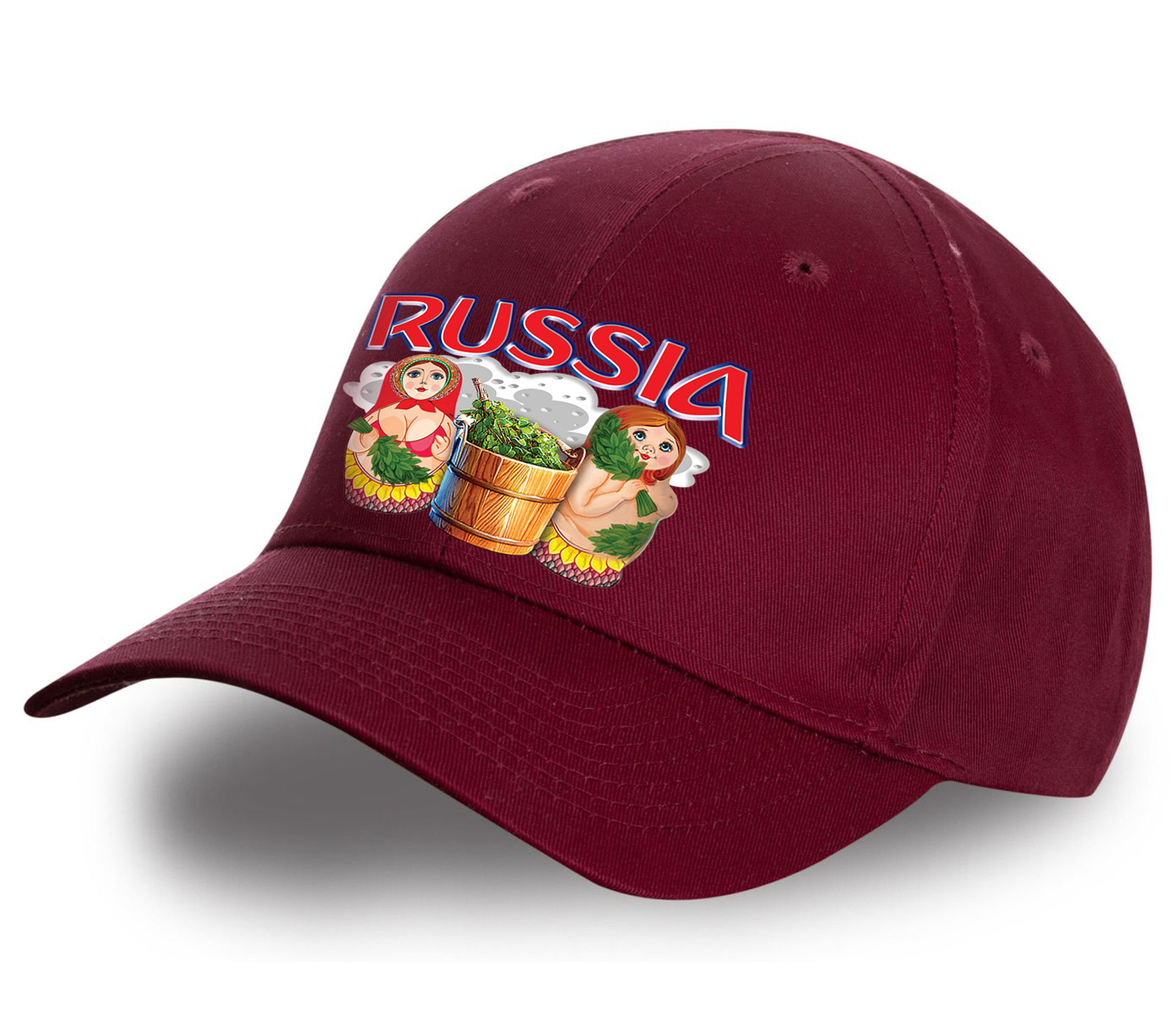 """Роскошная бейсболка """"Russia"""" с матрешками. Стильный головной убор из качественного хлопка. Достойный подарок по любому поводу и без!"""