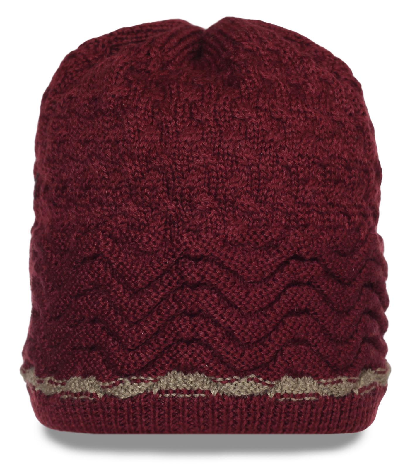 Роскошная оригинальная женская зимняя шапка фактурной вязки утепленная флисом