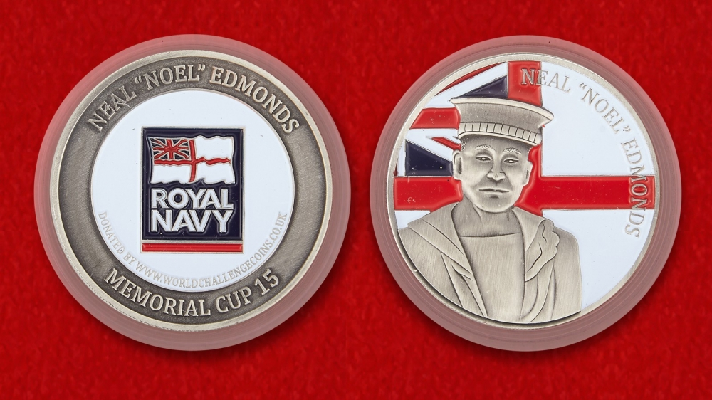 "Royal Navy Sailor Neal ""Noel"" Edmonds Memorial Challenge Coin - both sides"