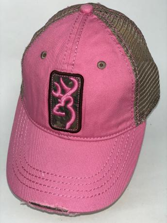 Розовая бейсболка Browning с вышивкой и бронзовой сеткой