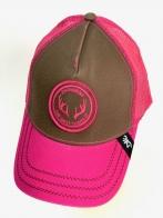 Розовая летняя бейсболка Browning с коричневой вставкой