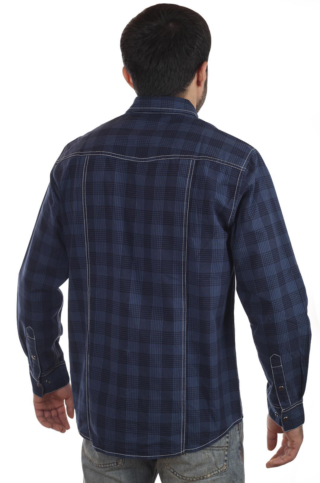 Мужская синяя рубашка от модного европейского бренда John Baner.
