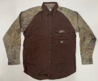 Рубашка коричневая мужская Mossy Oak с камуфляжными рукавами