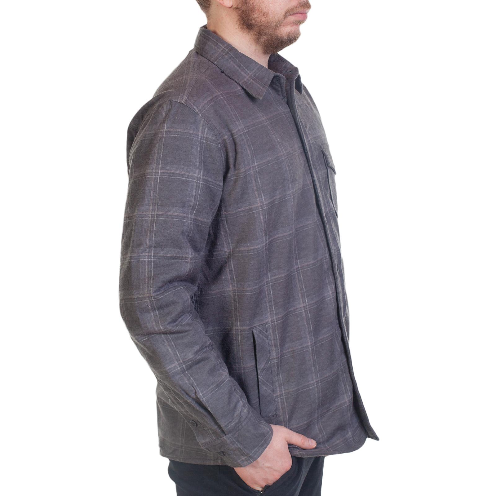 Серая клетчатая рубашка на зиму
